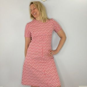 Vintage 70s red and white a-line handmade dress